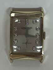 1958 Vintage 14k Yellow Gold Longines Diamond Dial Men's Wristwatch