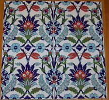 "Set of 50 Iznik Blue Carnation & Red Tulip Pattern 8""X8"" Turkish Ceramic Tile"
