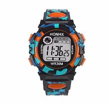 Big Dial Water Proof Quartz Digital Wrist Watch Alarm Date Chronometer Kids BGrd