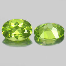 A PAIR OF 6x4mm OVAL-FACET STRONG-GREEN NATURAL AFGHAN PERIDOT GEMSTONES £1 NR!