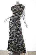 CHANEL Black+Cream Boucle Tweed Knit Criss-Cross Back Fringe Gown Dress 38/6