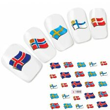 Tattoo Nagel Sticker Finnland Norwegen Flagge Fußball Flag Nail Water Decal