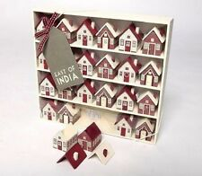 Traditional Wooden Red House Advent Village XMAS Display Calendar East Of India
