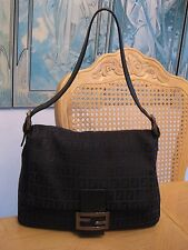 Authentic Black Signature Canvas Leather Fendi Handbag Bag Purse 8191-8BR001-028