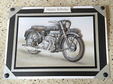 Handmade Happy Birthday card 3D decoupage Vintage Motorbike Ariel Square Four