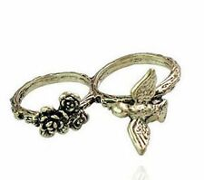 Vintage style bronze bird rose flower double finger ring