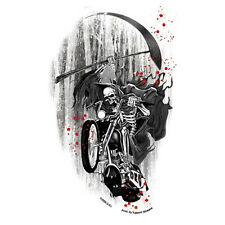 Biker Chopper Motorrad Death Rider Sensenmann Skelett Aufkleber Sticker Decal