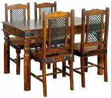 Brand New Jali Ganga- Indian Solid Sheesham Wood -135 DINING TABLE AND 4 CHAIRS