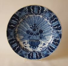 18th Century DUTCH DELFT CHARGER DISH PLATE PEACOCK (12 1/5 ins) PORCELEYNE BIJL