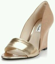 NEW CLARKS SATEEN CURTAIN BLUSH LEATHER WEDGE SHOE SIZE 6D