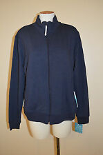 NWT Womens XL ProSpirit Navy Blue & White Zip-Up Workout/Athletic Jacket~Top