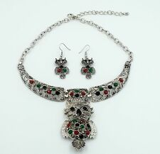 Owl Charm Necklace Pendant + Earrings Set Crystal Rhinestone Animal Jewelry ND18
