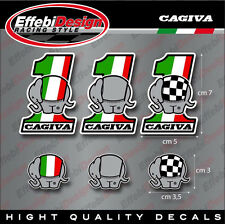 Adesivi Stickers Kit 6PZ CAGIVA Elefant Mito Planet Raptor Canyon Freccia River