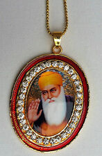 Gold Plated Stunning Sikh Singh Guru Nanak Photo Large Pendant Car Red OS106B
