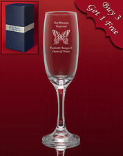 Personalised Engraved Champagne/Prosecco Glass-Weddings Bridesmaid Birthdays etc