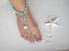 Tiffany Blue Beach Wedding Sandals Foot Jewelry Barefoot Sandals Aqua Pearl Bead