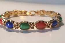 OVAL SEMI PRECIOUS STONES BLUE GREEN ORANGE MAGNETIC LADIES BRACELET PRO HEALING
