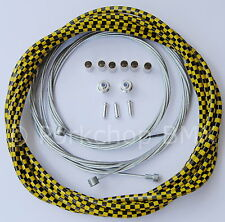 Bicycle LINED freestyle ACS rotor brake cable kit old school BMX  YELLOW CHECKER
