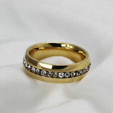 18mm Gold/ Silver Ring with Crystals Fashion/Wedding + Pouch