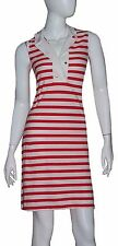 Tommy Hilfiger Size Small Red White Stripe Cotton Collared Sleeveless Buttons