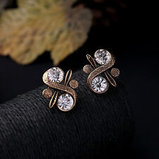 Elegant Fashion Women Gold Crystal Rhinestone Flower Ear Stud Earrings