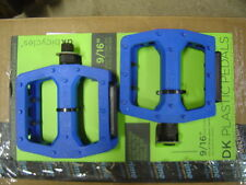 "DK Plastic Pedals 9/16"" Blue Platform for 3-piece Cranks BMX MTB PC"