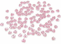 200 X PINK HEART CRYSTALS DIAMANTE GEMS RHINESTONE EMBELLISHMENT 6MM FLAT BACK