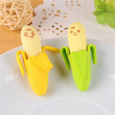 2Pcs Funny Cute Banana Pencil Eraser Rubber Novelty Toy For Children Kids NEW#