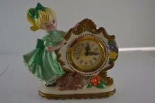 Small Vintage Hand Painted Germany Wind Up Clock with Girl and Cat Unsigned