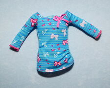 DARK TEAL Pink Blue Sexy STRIPED Long Sleeve Snug Fit Shirt Top Clothes BARBIE