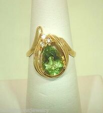 14k Yellow Gold 1.89Cts Pear Cut Peridot Gemstone 0.03Cts Round Diamond Ring 6.5