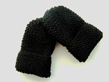 CHILDREN'S HAND KNITTED MITTENS, BLACK, ACRYLIC WOOL, ONE SIZE