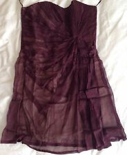 Kate Moss Topshop Plum Deep Purple Strapless Crepe Dress Size 10 Worn Once