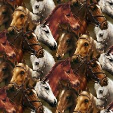 Fat Quarter World of Horses Horse Pony Heads Cotton Quilting Fabric SPX 25325