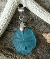 Blue Sea Glass necklace,sterling Silver Chain, gift box,Hawaiian Beach  jewelry