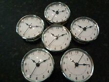 "6 PAK - 3-1/8""(80MM)QUARTZ CLOCK FIT-UP/Insert,Silver Trim,Arabic,White Face,HMS"