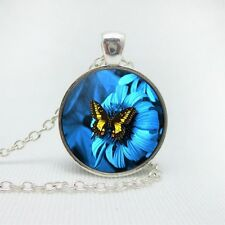 """Silver plated 18"""" chain and pendant necklace/glass cabochon BUTTERFLY 1"""