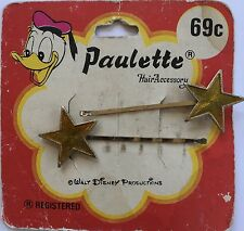 Vintage Hair Pins - Pair of Gold Metal Star Bobby Pins