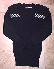 "Obsolete Nato Female Jumper Black Epaulettes Security Police 36"" 100%Wool"