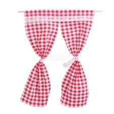 1:12 MINIATURE DOLLHOUSE FURNITURE ACCESSORY CURTAINS DRAPES RED GINGHAM