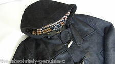 AQUASCUTUM Hooded Duffle Coat Jacket CHARCOAL GREY Made UK sz 48 BNWT