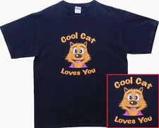 COOL CAT CLOTHES – COOL CAT SHIRT – KID or ADULT size- BLACK -COOL CAT LOVES YOU