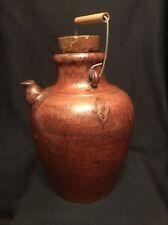 Late19th c Shanxi Chinese Rust Brown Glazed Stoneware Large Wine Jar w Spout