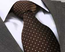 NUOVO stilista italiano Brown & White Dot SILK TIE
