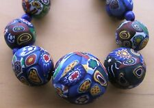 LOVELY CHUNKY VINTAGE VENETIAN MATT MILLEFIORI ART DECO GLASS BEAD NECKLACE