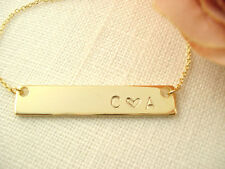 Hand Stamped Gold Bar Necklace 1-2 letters Personalized Name plate bar jewelry