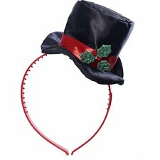 Christmas Mini Top Hat With Mistletoe Costume Headband #314802