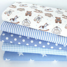 Baby Bear blue & beige 5 piece fat quarter bundle 100% cotton fabric for sewing