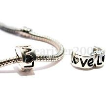 Silver Plated ''LOVE'' Design Clip Lock Pendant Charm Stopper Bead For Bracelet