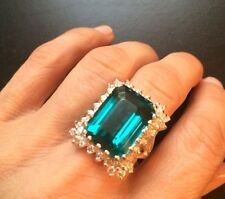 16.70CTS!   HUGE NEON BLUE PARAIBA APATITE & WHITE TOPAZ SILVER RING SZ 6.5